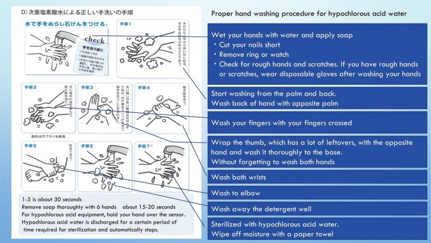 Proper hand washing procedure for hypochlorous acid water